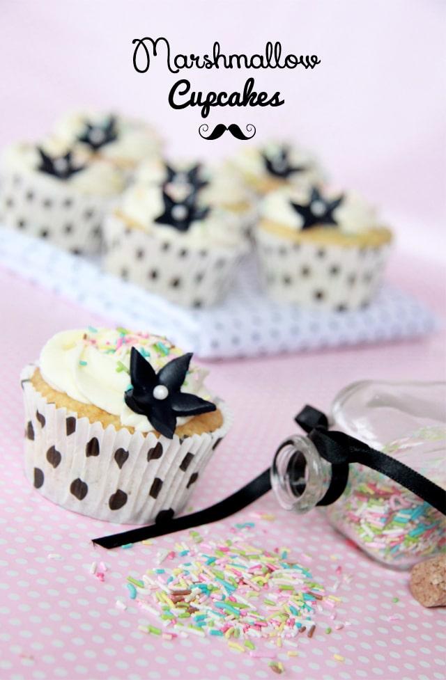 Cupcakes de vainilla y marshmallow
