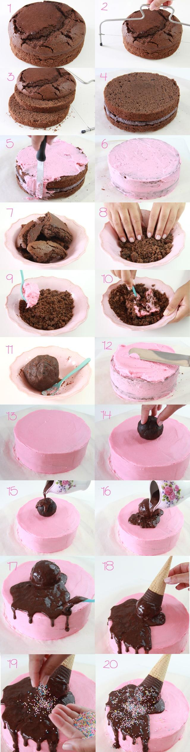 Tutorial tarta de cucurucho rosa