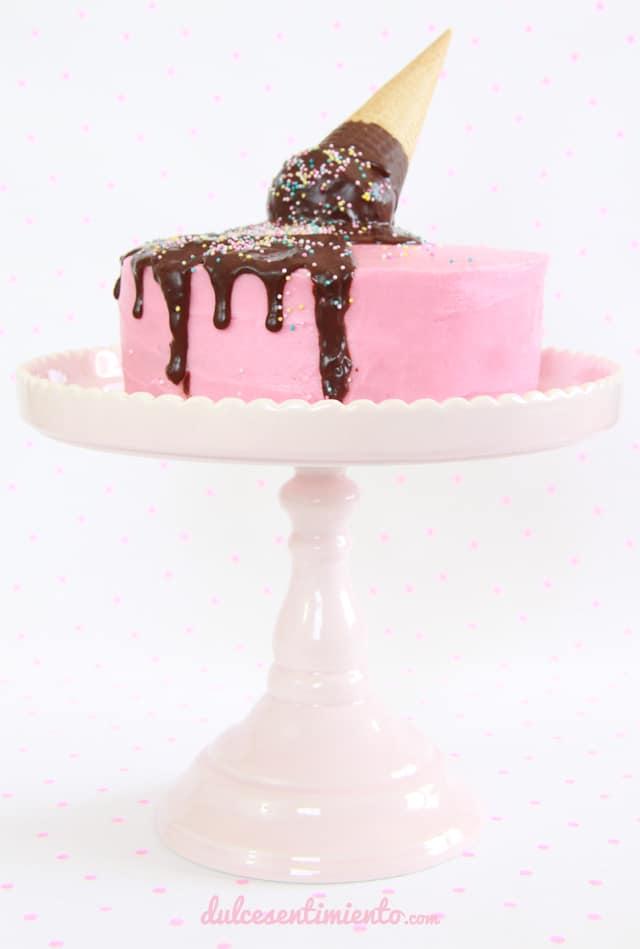 tarta de cucurucho rosa-tutorial