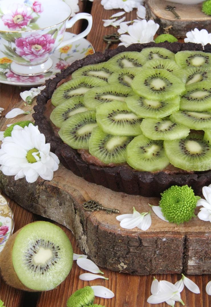 Tartaleta de chocolate y kiwi