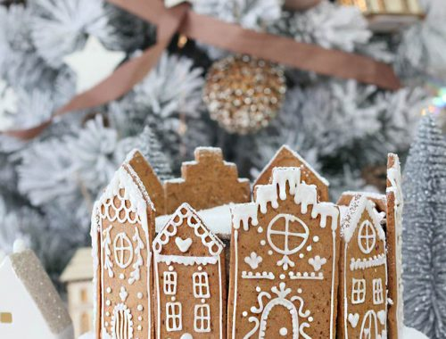 Tarta de navidad con casitas de jengibre